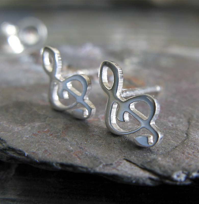 Treble Clef Music Note Stud Earrings. Handmade in sterling silver or 14k gold.
