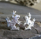 Frog stud earrings handcrafted from sterling silver or 14k gold