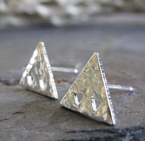 Triangles in Triangle geometric stud earrings in sterling silver