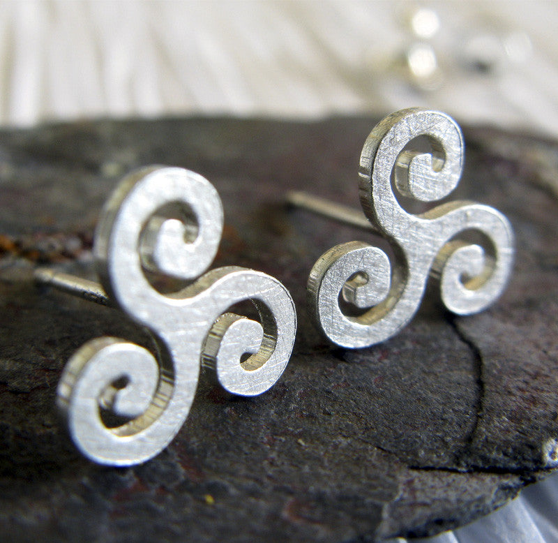 Triskele Stud Earrings ~ Sterling Silver