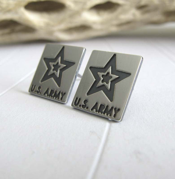 Army Military earrings. Sterling Silver studs handmade in the USA.