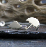 Umbrella and rain cloud mismatched stud earrings handmade from sterling silver or 14k gold