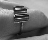 Unique Half Pipe Sterling Silver Urban Ring