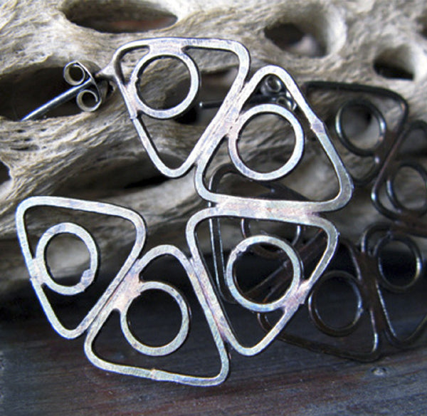 Urban Rustic Triangle Hoop Earrings Sterling Silver