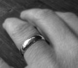 Wedding band sterling silver hammered 4mm ring