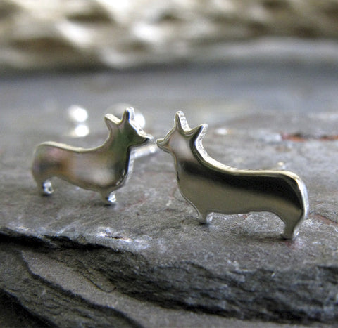 Welsh Corgi Dog Silhouette Stud Earrings Sterling Silver