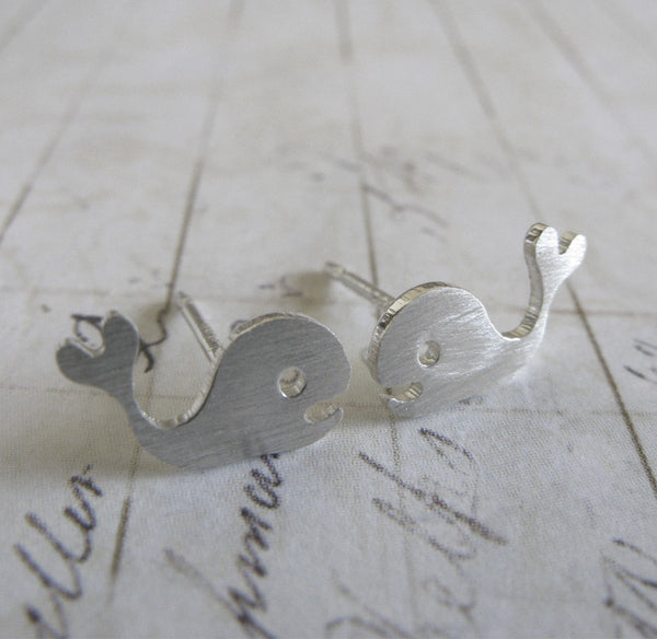 Whale with a Heart Tail Stud Earrings in Sterling Silver or 14k Gold