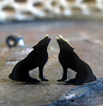 Howling Wolf Stud Earrings
