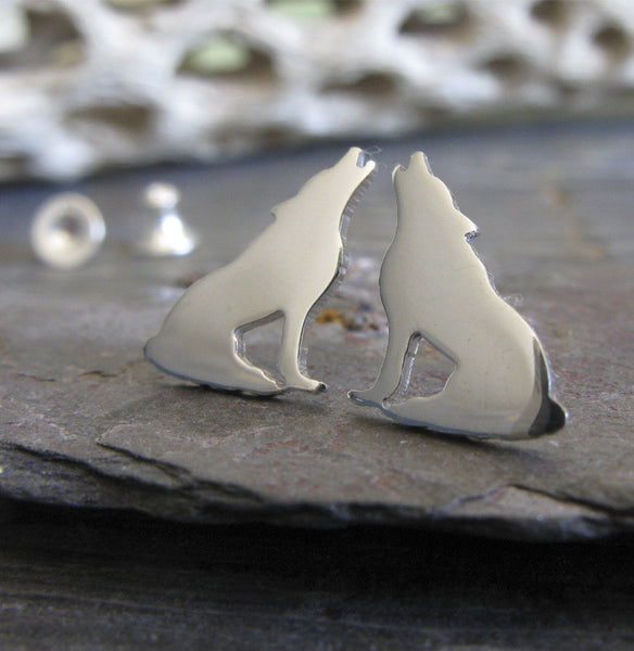 Howling wolf post earrings made in sterling silver or 14k gold