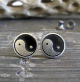 Yin Yang sterling silver post earrings in sterling silver
