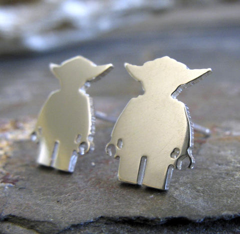 Star Wars Yoda Lego Minfigure Sterling Silver Stud Earrings