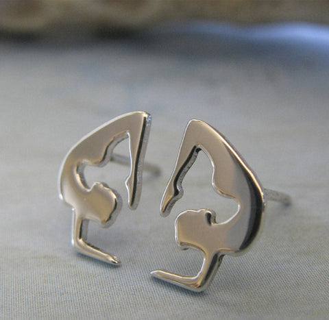 Yoga Scorpian Pose STud Earrings ~ Sterling Silver
