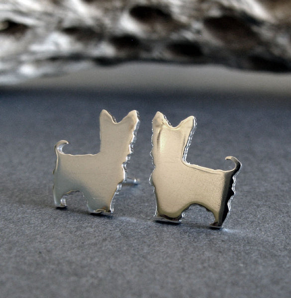 Yorkie tiny dog stud earrings handmade in sterling silver or 14k gold