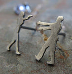 The Walking Dead Zombie stud earrings handmade in sterling silver or 14k gold