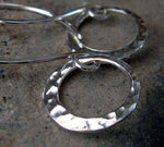 Dainty hammered ring dangle earrings handmade from sterling silver or 14k gold filled
