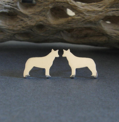 Australian Cattle Dog stud earrings.  Tiny sterling silver or 14k gold posts.