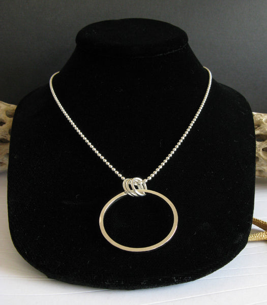 Large simple sterling silver ring pendant necklace handmade in the USA
