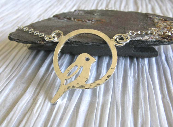 Bird in ring perch dainty sterling silver necklace. Handmade in the USA.