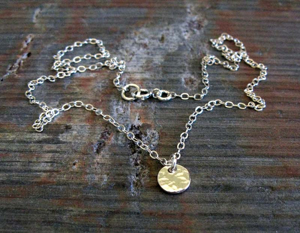 Minimalist tiny dot necklace handmade in sterling silver or 14k gold