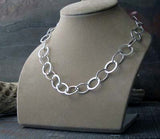 Chunky handmade sterling silver chain necklace