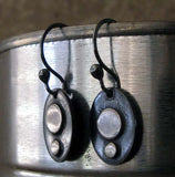 Dangle earrings black oval with silver dots hanging from tin can