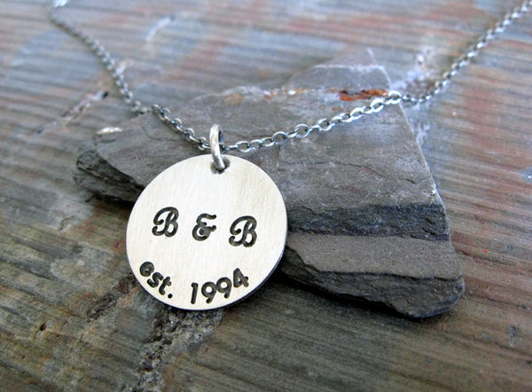 Couples initial anniversary necklace handmade in sterling silver