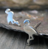 Flamingo Bird stud earrings handmade from sterling silver or 14k gold