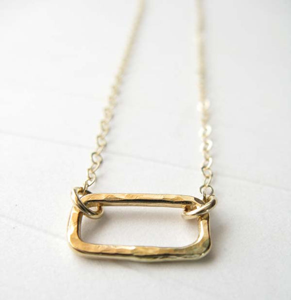 Dainty hammered rectangle minimalist necklace available in sterling silver or 14k gold