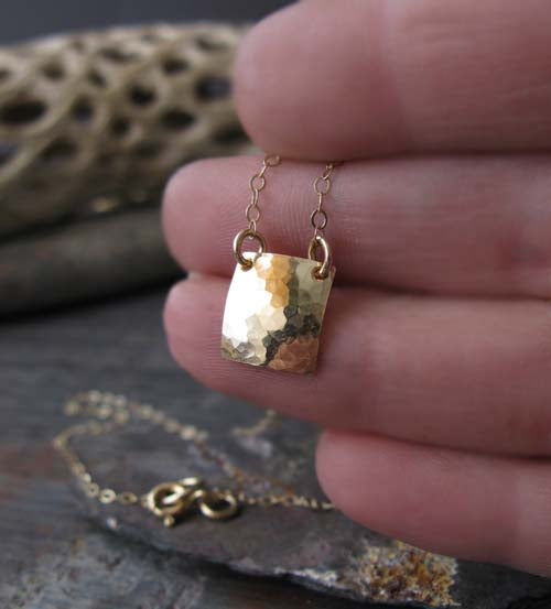 Dainty square minimalist necklace handmade in sterling silver or 14k gold