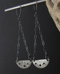 Long Silver Half Circle Dangle Earrings