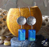 Clearance Sale. Starfish sterling silver & fused glass earrings.  Sparkling blue water ocean jewelry.  Marina...