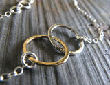 Interlocking Rings Dainty Necklace sterling silver and 14k gold