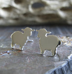 Lamb Sheep post earrings handmade in the USA from sterling silver or 14k gold