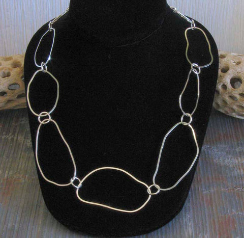 Long organic sterling silver statement necklace