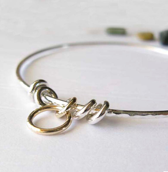 Mixed metal minimalist bangle bracelet silver and gold