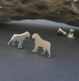 Rottweiler tiny dog stud earrings handcrafted in sterling silver or 14k gold.