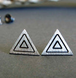 Triangle Stud earrings handcrafted in sterling silver. Boho Jewelry.