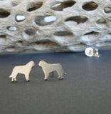 St Bernard tiny dog stud earrings. Handmade from sterling silver or 14k gold.