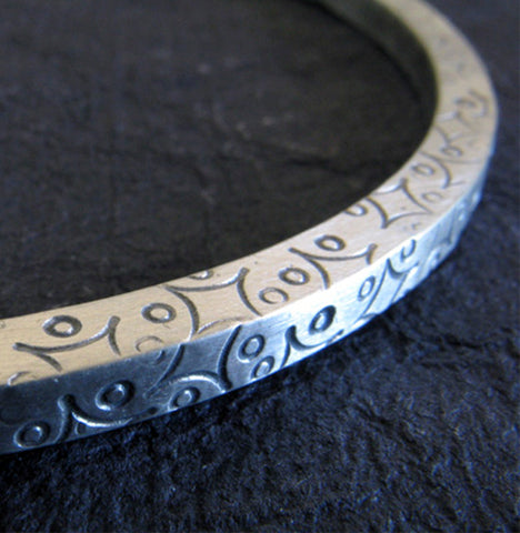 Thick Handstamped Bangle Bracelet