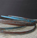 Copper patina bangle bracelets handmade jewlery