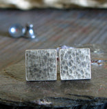 Medium Square Hammered Stud Earrings