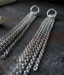 Long chain dangle stud earrings handmade in sterling silver