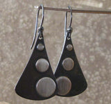 Mixed metal teardop dangle earrings copper and sterling silver