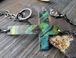 Sideways copper patina cross and sterling silver bracelet