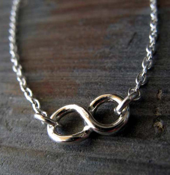 Dainty Infinity Minimalist necklace handmade in sterling silver