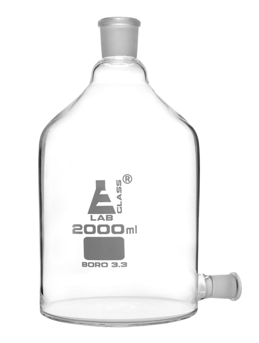 Aspirator Bottle, 2000ml - 19/26 Outlet for Tubing, 29/32 Top Socket - Borosilicate Glass - Eisco Labs