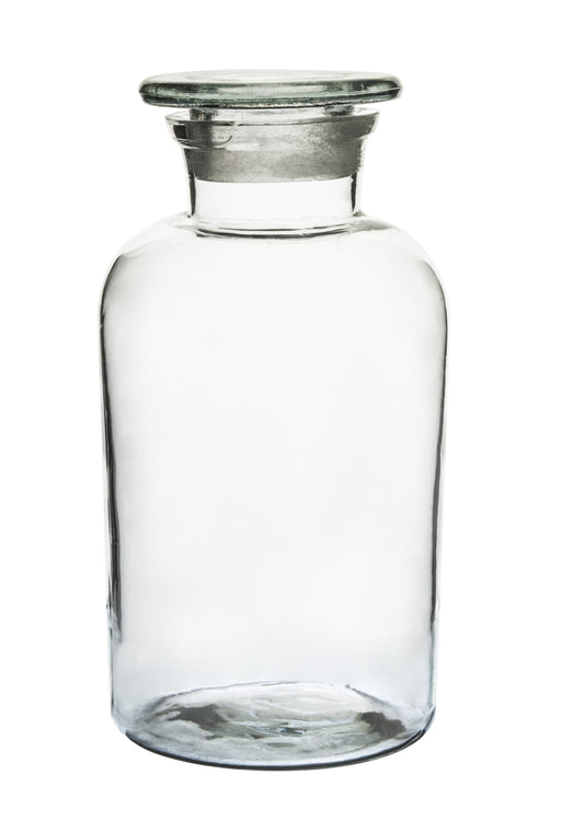 Eisco Labs Reagent Bottle, Soda Glass, Wide Neck with Stopper, 1000 mL