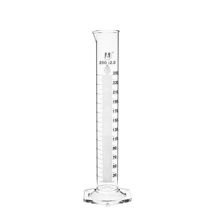 Measuring Cylinder, 250ml - Class A, Tolerance: ±1.00ml - Hexagonal Base - White Graduations - Borosilicate Glass - Eisco Labs