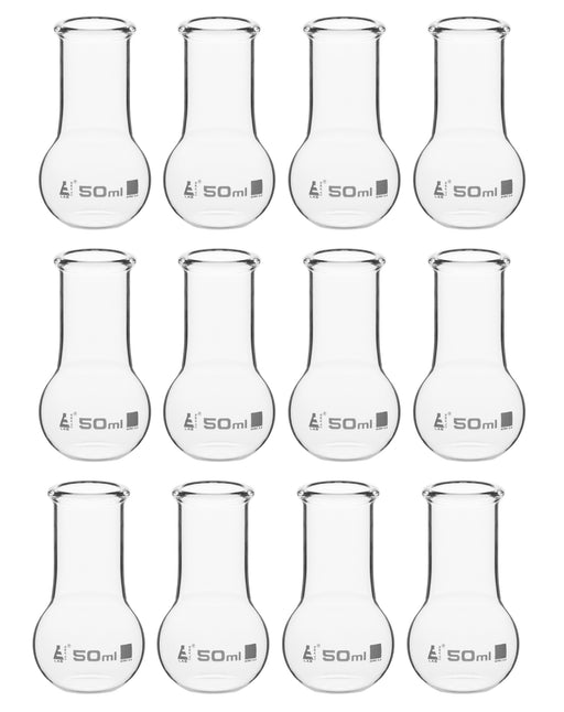 12PK Boiling Flasks, 50ml - Borosilicate Glass - Flat Bottom, Wide Neck - Pack of 12 Flasks - Eisco Labs