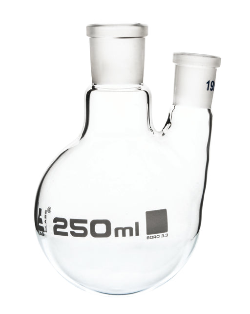 Distilling Flask, 250ml - 19/26 Oblique Neck with 19/26 Joint - Borosilicate Glass - Round Bottom - Eisco Labs